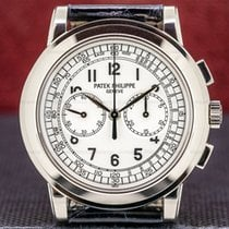 Patek Philippe Chronograph pre-owned Silver Chronograph Tachymeter Crocodile skin