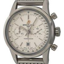 Breitling Transocean Chronograph 38 gebraucht 38mm Silber Chronograph Datum