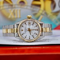 Rolex Oyster Perpetual Lady Date Acero y oro 26mm Blanco Romanos