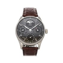 IWC White gold Automatic Black Arabic numerals 42.3mm pre-owned Portuguese Perpetual Calendar