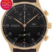IWC Oro rosa Automático Negro Arábigos 41mm usados Portuguese Chronograph