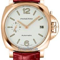 Panerai Or rose Remontage automatique Blanc 38mm nouveau Luminor Due