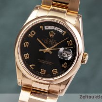 Rolex Red gold Automatic Black 36mm pre-owned Day-Date 36