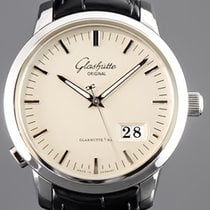 Glashütte Original Senator Panorama Date pre-owned 40mm Champagne Date Crocodile skin
