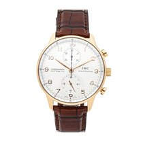 IWC Rose gold Automatic Silver Arabic numerals 40.9mm pre-owned Portuguese Chronograph