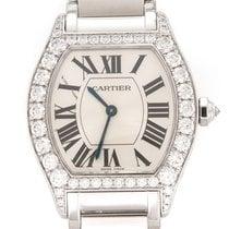 Cartier Weißgold Handaufzug Silber Römisch 34mm gebraucht Tortue
