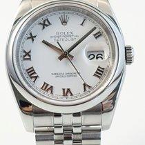 Rolex Datejust Stål 36mm Hvid Romertal