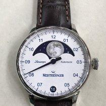 Meistersinger Lunascope Steel 40mm Silver Arabic numerals