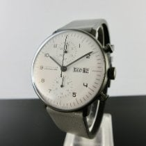 Junghans max bill Chronoscope Stal 40mm Biały Arabskie