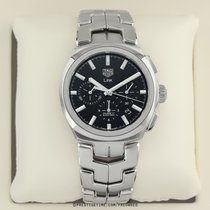 TAG Heuer Link pre-owned 41mm Black Chronograph Date Year Steel