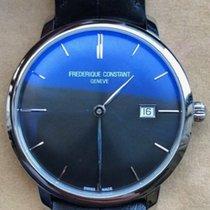Frederique Constant Slimline Automatic Acier Noir Sans chiffres France, Carry le rouet