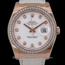 Rolex Or rose Remontage automatique Blanc 36mm occasion Datejust