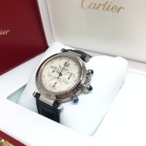 Cartier Pasha pre-owned 38mm Silver Chronograph Date Leather