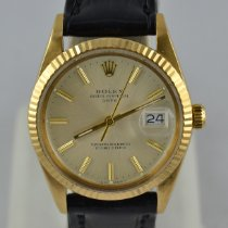 Rolex Oyster Perpetual Date Or jaune 34mm Champagne Sans chiffres
