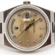 Rolex White gold Quartz Silver No numerals 36mm pre-owned Day-Date Oysterquartz