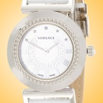 Versace Steel Quartz White Roman numerals 35mm new