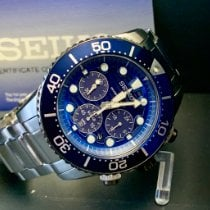 Seiko Solar Steel 43mm Blue No numerals