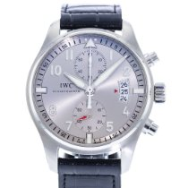 IWC Pilot Spitfire Chronograph pre-owned 43mm Silver Date Leather