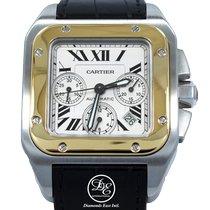 Cartier Santos 100 Zlato/Zeljezo 42mm Bjel Rimski brojevi