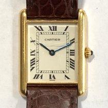 Cartier Tank Louis Cartier Gelbgold 20mm Silber Römisch