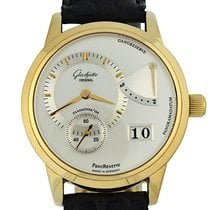 Glashütte Original Yellow gold Manual winding Silver 39.4mm pre-owned PanoReserve