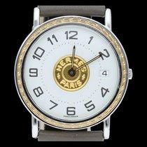 Hermès Sellier Gold/Stahl 32mm Weiß Arabisch