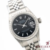 Rolex Oyster Perpetual Lady Date Stahl 26mm Schwarz