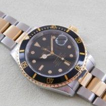 Rolex Submariner Date gebraucht 40mm Schwarz Datum Gold/Stahl