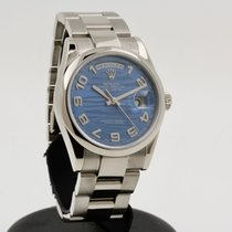 Rolex Day-Date 36 Oro blanco 36mm Azul