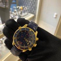 Omega Or jaune Remontage automatique Bleu Sans chiffres 42mm occasion Seamaster Diver 300 M