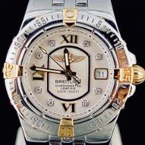Breitling Galactic 30 gebraucht 30mm Weiß Datum Gold/Stahl
