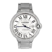Cartier Ballon Bleu 42mm pre-owned 42mm Silver Date White gold