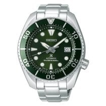 Seiko Prospex Steel 52.6mm Green Arabic numerals