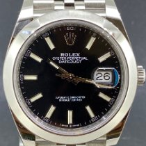 Rolex Datejust Acier 41mm Noir Sans chiffres