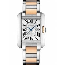 Cartier Tank Anglaise Gold/Steel 39.2mm Silver Roman numerals