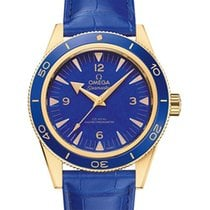 Omega Yellow gold Automatic Blue 41mm new Seamaster 300