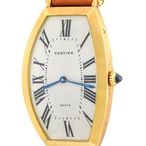 Cartier Tonneau Yellow gold 26mm Silver Roman numerals