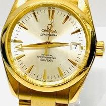 Omega Or jaune Remontage automatique Champagne Sans chiffres 36mm occasion Seamaster Aqua Terra