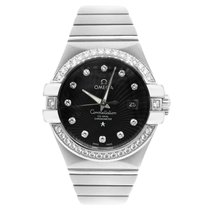 Omega White gold Automatic Black No numerals 31mm pre-owned Constellation Ladies