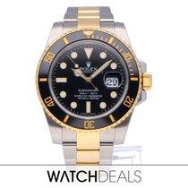 Rolex Submariner Date Or/Acier 40mm Noir Sans chiffres