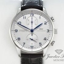 IWC Portugieser Chronograph gebraucht 41mm Silber Chronograph Leder