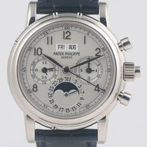 Patek Philippe Perpetual Calendar Chronograph Witgoud 37mm Zilver Romeins