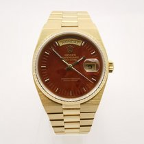 Rolex Day-Date Oysterquartz Yellow gold 36mm Brown Roman numerals