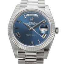 Rolex Oro blanco Automático Azul Romanos 40mm nuevo Day-Date 40