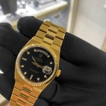 Rolex Day-Date Oysterquartz Yellow gold 36mm Black No numerals