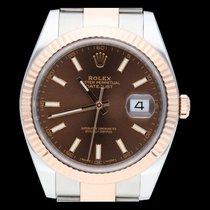 Rolex Datejust II Zlato/Ocel 41mm Hnědá Bez čísel
