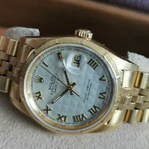 Rolex Or jaune Remontage automatique Argent Romains 36mm occasion Datejust