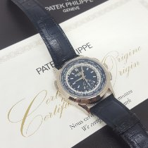 Patek Philippe World Time Chronograph usados 39.5mm Azul Cronógrafo GMT Cuero de cocodrilo