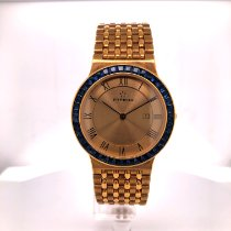 Eterna new Quartz Gemstones and/or diamonds Tempered blue hands 31mm Yellow gold Sapphire crystal