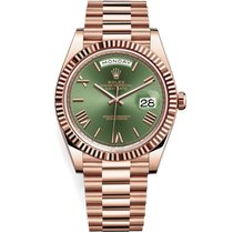 Rolex Day-Date 40 Or rose 40mm Vert Romain
